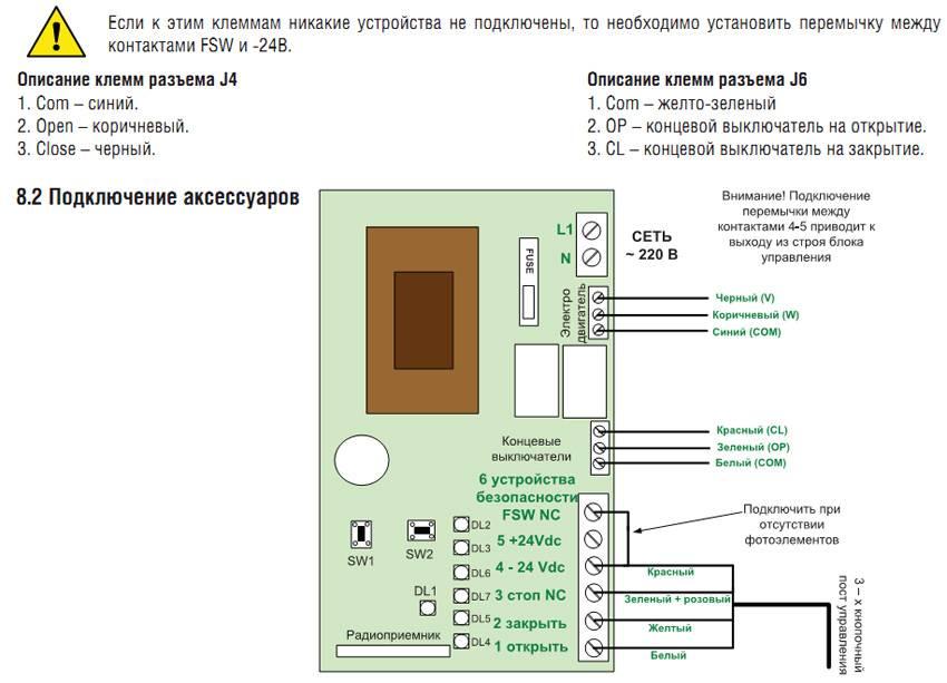 Электрическая схема подключения автоматики для ворот Shaft 30