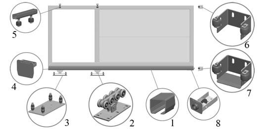 Типовой вид и позиции основных комплектующих для откатных ворот