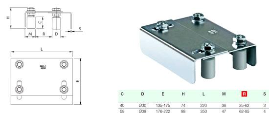 Регулируемая направляющая роликовая скоба для установки сверху полотна с креплением посредством сварки с закладным профилем