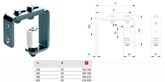 Регулируемый направляющий ролик со скобой для установки на приемном столбе