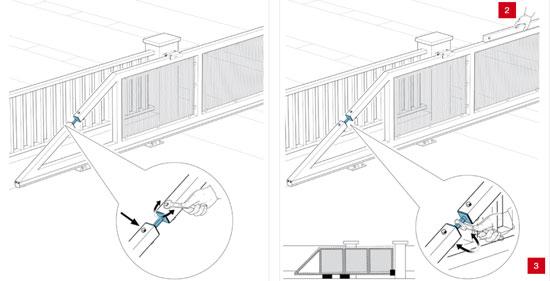Натяжитель (регулируемая тяга) установленный на откатных воротах