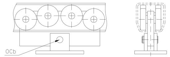 Специальная форма нижней части профиля направляющей обеспечивает самостоятельное подруливание опорного ролика к оси направляющей