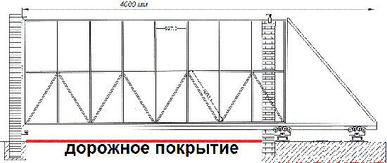 Предлагаемый на откатные ворота чертеж, где укрепляющие раскосы крепятся на раме и на опорной сетке для обшивки