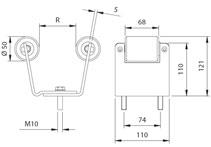 Раздвижные ворота своими руками: технические и монтажные размеры верхнего ловителя - рис.2